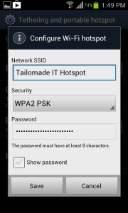 how to find samsung s4 hotspot password
