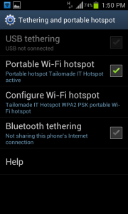 Android wifi hotspot Activating Hotspot