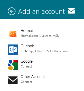 Windows 8 Mail App - Add Accounts